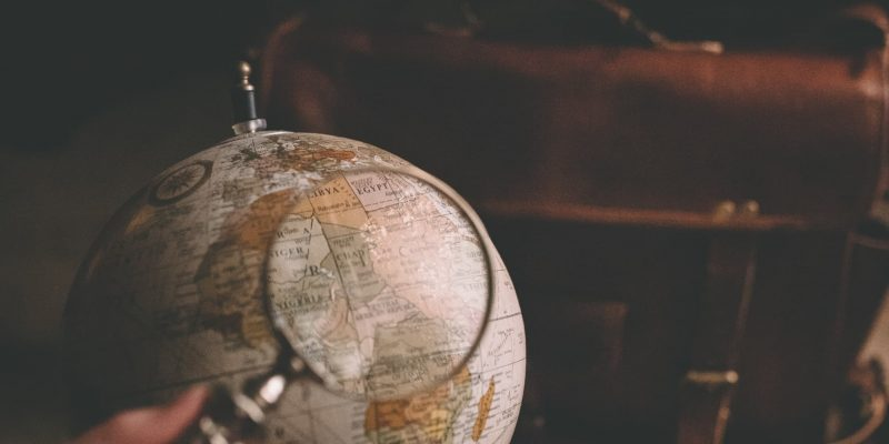 Magnifying glass on the world